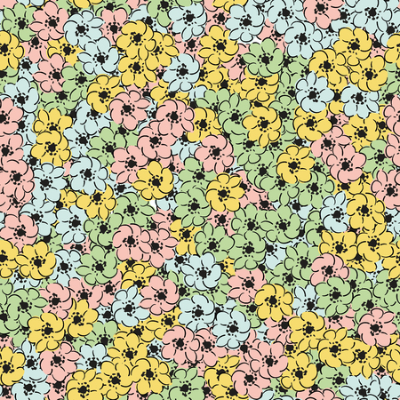 Hand drawn flowers colorful multicolor wallpaper seamless pattern. Beautiful modern floral background
