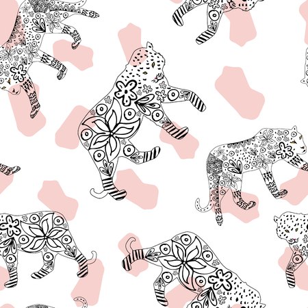 Creative cartoon hand drawn tiger and leopard in ink flowers seamless repeat pattern on white spotted background