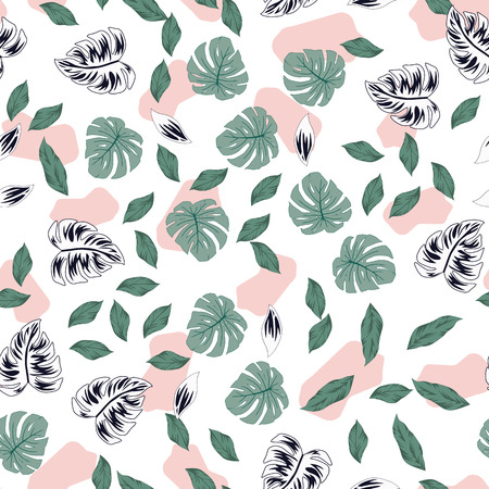 Vector illustration tropical exotic leaves monstera seamless pattern spotted texture background trendy faded washed colors Stock Vector - 122038592