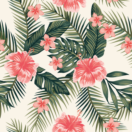Playa alegre papel tapiz hibiscus plumeria tropical deja patrón de vector transparente sobre un fondo amarillo claro Ilustración de vector