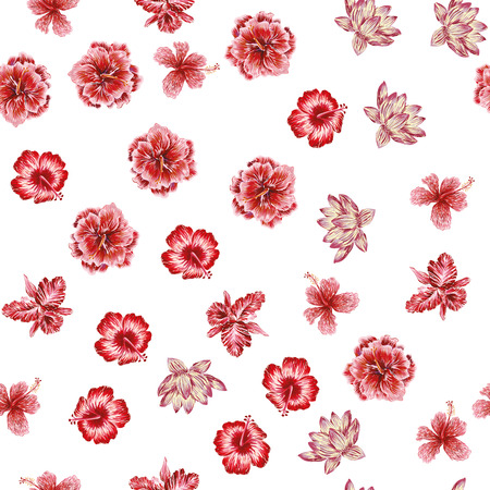 Floral composition hand drawn tropical flowers seamless vector pattern white background