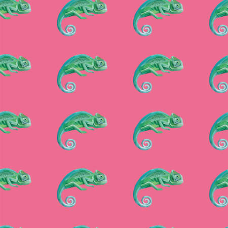 Beautiful green chameleon identical to the real animal vector image seamless pattern pink background