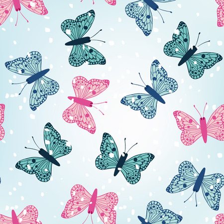 Winter multicolor butterflies seamless vector pattern blue background with snow. Winter wallpaper