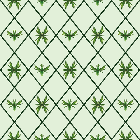 Abstract bugs and birds made of tropical leaves seamless vector pattern checkered background