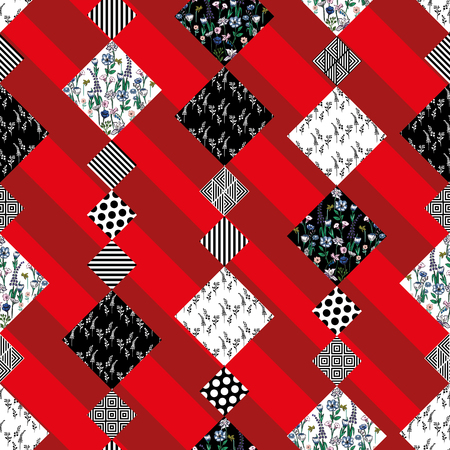 Abstract vector flowers and plants pattern seamless patchwork striped red background