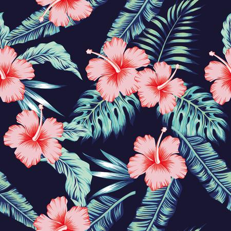 Exóticas flores tropicales rosa hibisco verde monstera hojas de palma patrón transparente. Papel tapiz vintage vector azul oscuro