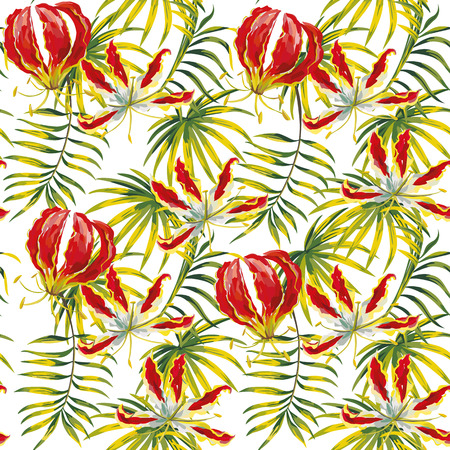 Trendy flowers gloriosa painting hand drawn green tropical leaves seamless pattern vector white background