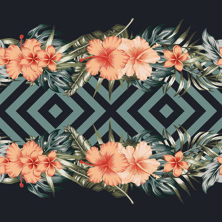 Tropical flowers hibiscus plumeria palm leaves border mirror seamless geometric vector trendy background 일러스트
