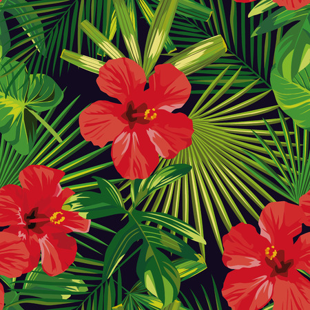 Tropical flowers red hibiscus green palm leaves seamless pattern. Old fashion illustration
