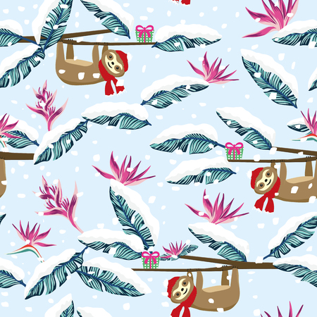 Funny cartoon sloth xmas gift box snowy tropical jungle seamless pattern blue background. Christmas winter lazybones