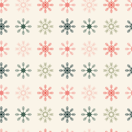Geometrically located snowflakes seamless pattern christmas composition beige background pastel color xmas wallpaper flat style Ilustracja