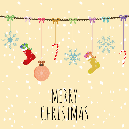 Vector hand draw design for Christmas greetings card Merry christmas slogan. Xmas composition balls socks and bells yellow background wiyh snow Illustration