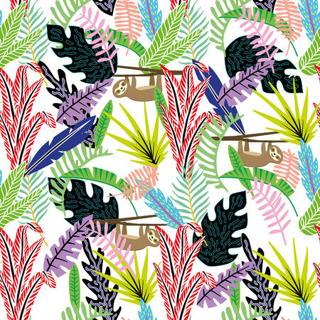 Flat cartoon style abstract seamless pattern sloth (lazybones) in the tropical jungle white vector background