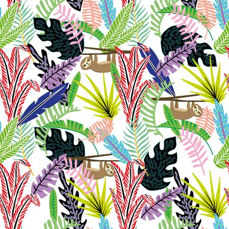 Piatto stile cartone animato astratto senza cuciture bradipo (ossa pigri) nella giungla tropicale sfondo bianco vettoriale Vettoriali