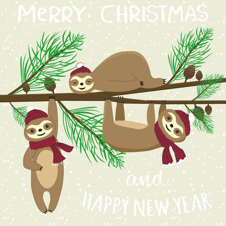 Slogan joyeux noël et bonne année. Cartoon style plat heureux paresseux (paresseux) sur l'arbre de Noël. Carte de vecteur de Noël drôle Vecteurs