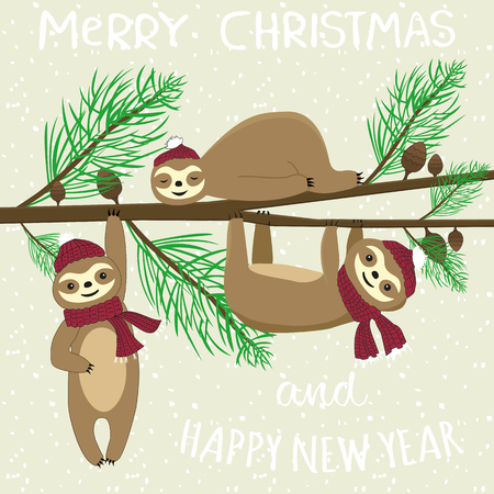 Slogan merry christmas and happy new year. Cartoon flat style happy sloth (lazybones) on the Christmas tree. Funny xmas vector card