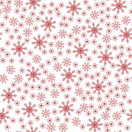 Christmas red snowflake seamless pattern white background