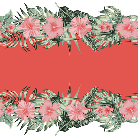 Tropical cool flowers pink hibiscus, plumeria and green monstera, palm leaves. Vector seamless border mirror style, living coral background