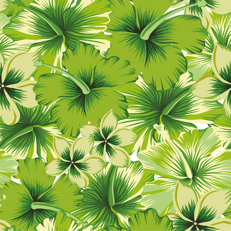 Trendy summer flowers plumeria (frangipani), hibiscus abstract lime color seamless vector background. Fresh spring pattern wallpaper Illustration