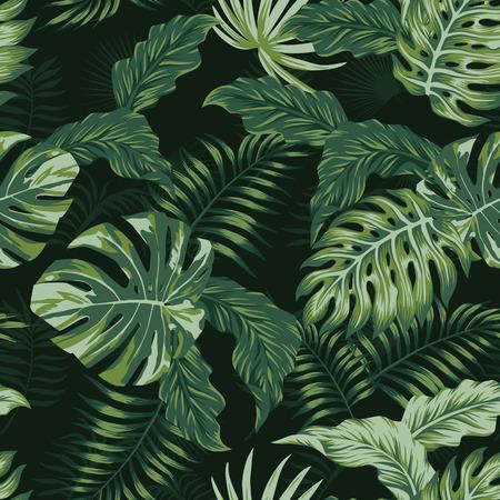 Tropical evening summer jungle leaves seamless pattern. Vector spring illustration