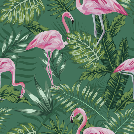 Exotic bird pink flamingo on the green jungle plant, palm leaves, monstera seamless pattern. Summer illustration