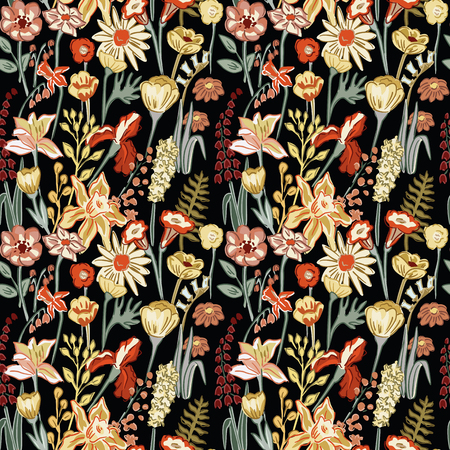 Spring hand drawn flowers and plants. Summer composition flat style seamless pattern on the black background