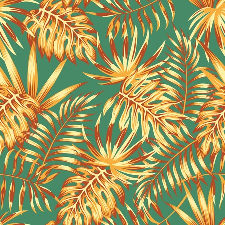 Abstract color palm leaves monstera retro style seamless pattern. Spring wallpaper
