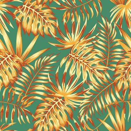 Hojas de palma de color abstracto monstera estilo retro de patrones sin fisuras. Fondo de pantalla de primavera