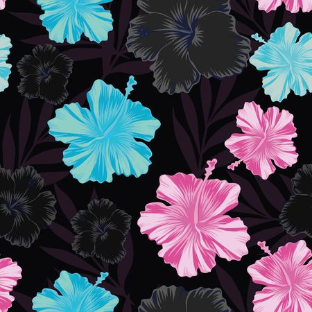 Dark abstract style floral vector pattern. Pink and blue hibiscus flowers seamless black background