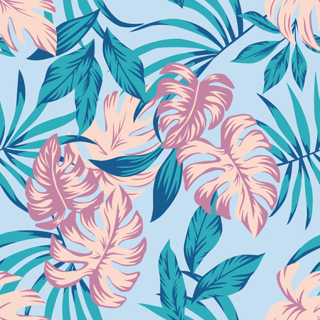 Spring floral seamless composition abstract color tropical leaves blue background. Summer fabric t-shirt exotic pattern wallpaper
