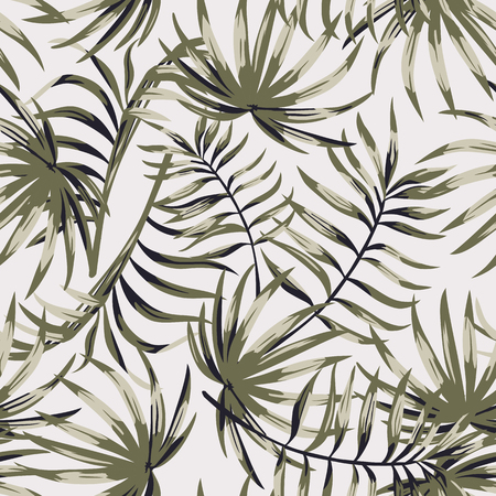 Monochrome tropical leaves seamless white background