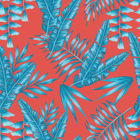 Abstract composition blue tropical palm leaves seamless living coral background. Trendy exotic pattern Illustration