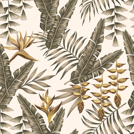 Gold flowers bird of paradise, brown tropical leaves seamless vector pattern white background Illustration
