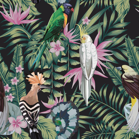 Tropical birds parrot, hoopoe, plants leaves flowers frangipani (plumeria) abstract color black background. Seamless vector pattern