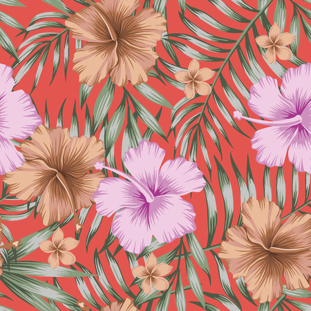 Violet and brown tropical flowers hibiscus and frangipani (plumeria) green palm leaves trendy living coral background. Seamless vector pattern Illusztráció