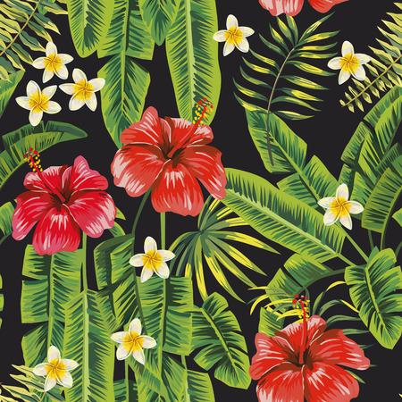 Hojas de plátano verde e hibisco rojo, plumeria blanco (frangipani) flores de patrones sin fisuras fondo negro Composición botánica vectorial