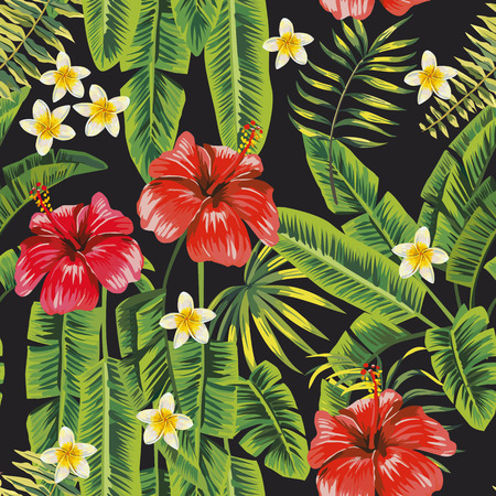 Banana green leaves and red hibiscus, white plumeria (frangipani) flowers seamless pattern black background. Vector botanical compoition