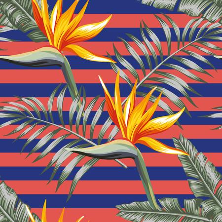 Egzotyczne kwiaty rajski ptak z tropikalnymi liśćmi bez szwu wektor wzór w paski koralowe niebieskie tło