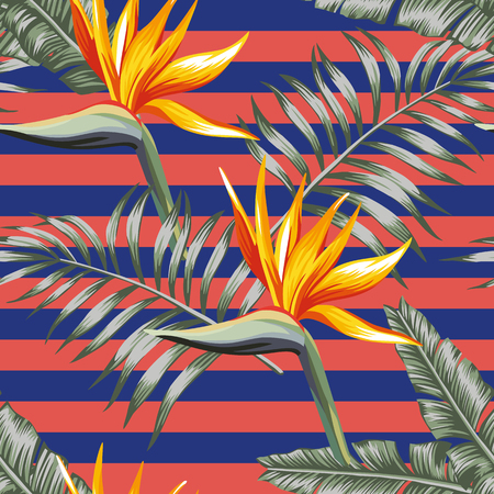 Exotic flowers bird of paradise with tropical leaves seamless vector pattern stripe coral blue background
