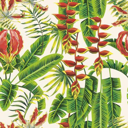 Grüne Bananenblätter und rote tropische Gloriosa blüht nahtloses Muster weißer Hintergrund. Realistische botanische Vektorzusammensetzung Vektorgrafik