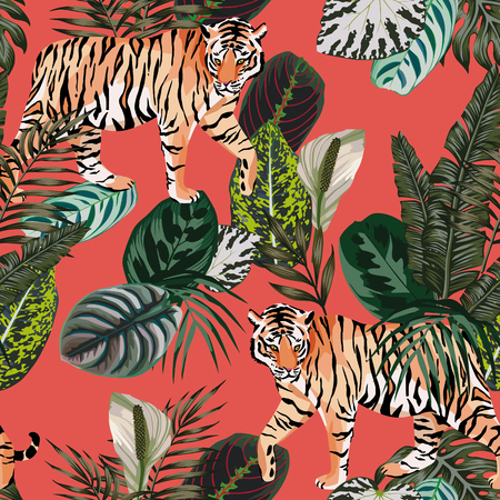 Seamless vector composition realistic tiger in the tropical jungle on the trendy living coral background Çizim