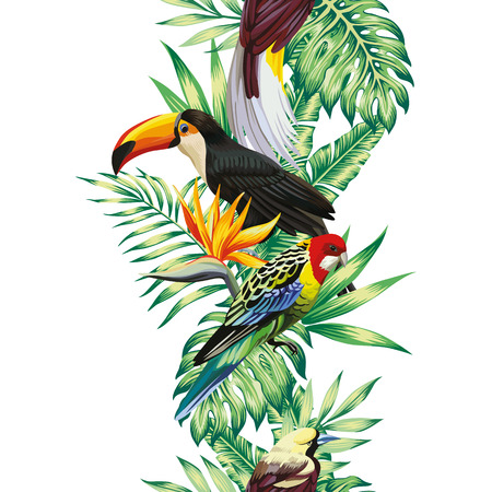 Tropical realistic bird parrot, toucan. Green leaves and fiery flowers bird of paradise seamless white background