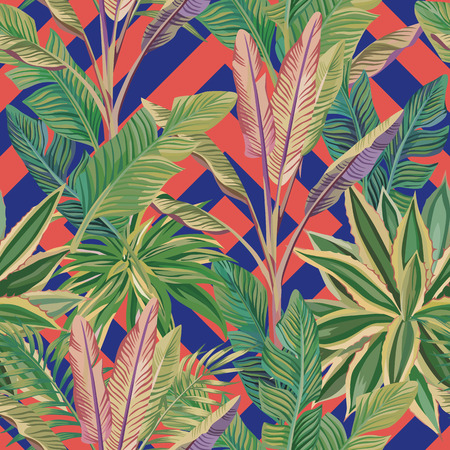 Exotic realistic tropical green banana leaves and cactus seamless vector pattern. Abstract trendy living coral blue background