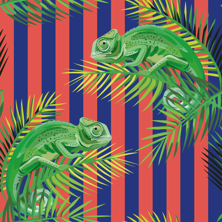 Realistc vector composition chameleon on the palm leaves on the stripe coral blue background. Seamless pattern wallpaper