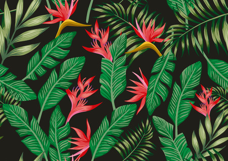 Exotischer botanischer Mustervogel o Paradiesblumen und tropische Palmblätter nahtlos. Schwarzer Hintergrund Vektor A4-Stil Tapete