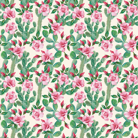 Hand drawn small pink roses and green cactus seamless pattern on the white background