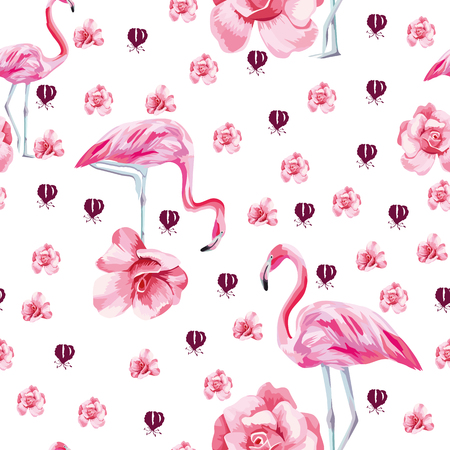 Very beautiful vector tropical bird pink flamingo and rose roses seamless white background. Flat style wallpaper