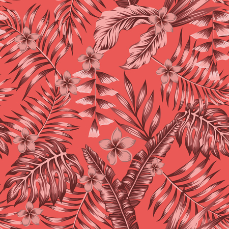 Tropical exotic plants abstract burgundy colors flowers and leaves seamless living color background. Trendy botanical pattern