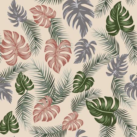 Botanical seamless pattern on the beige background. Tropical leaves illustration flat design