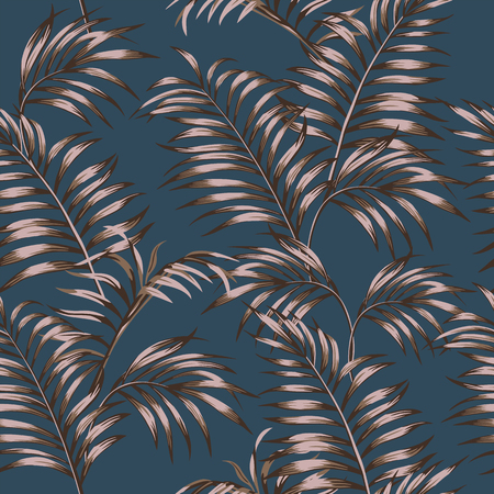 Abstract brown color tropical leaves seamless pattern on the dark blue background